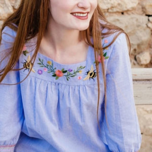 Ines Embroidered Top - Off-white/blue, Stripey Bees-1_55e257a3-b1c2-42d6-beda-c93d706e96a8_1800x1800(1)