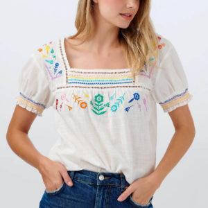 Alva Embroidered Top - Off-white, Rainbow Flower-T0479_ALVAEMBROIDEREDTOP_2_1800x1800