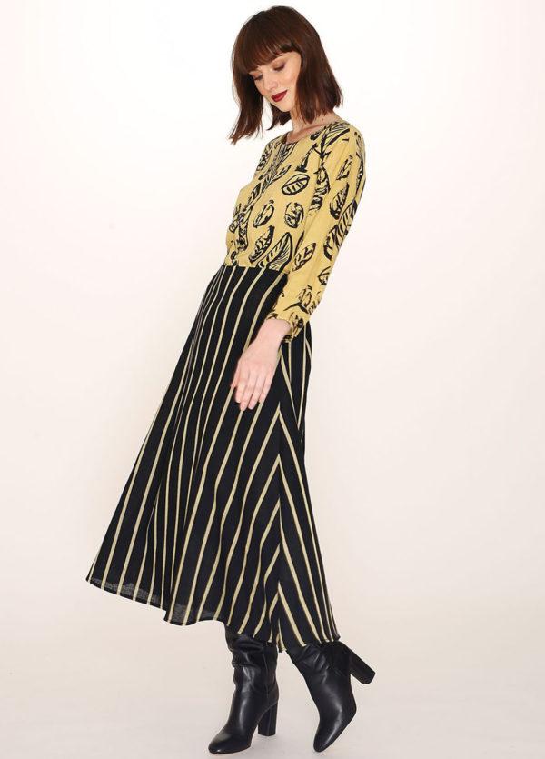 BLACK SKIRT YELLOW STRIPES-black-skirt-yellow-stripes