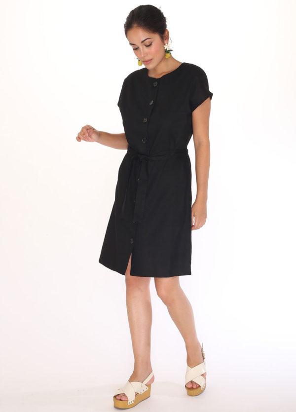 linen-round-neck-dress-black