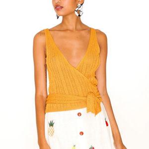 POINTELLE WRAP SWEATER YELLOW-stripes-vest-sweater-85-rayon-15nylon-3500-